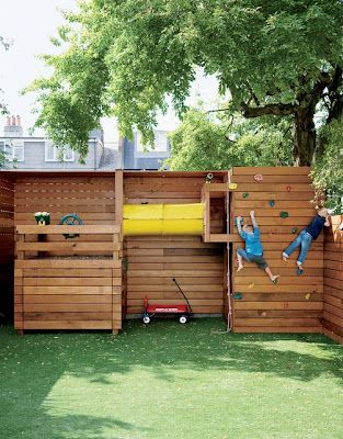 LOVE the idea of this. play area built into fence side doesn't take up much space in yard & looks NEAT! and would block views from Neighbors as well!!