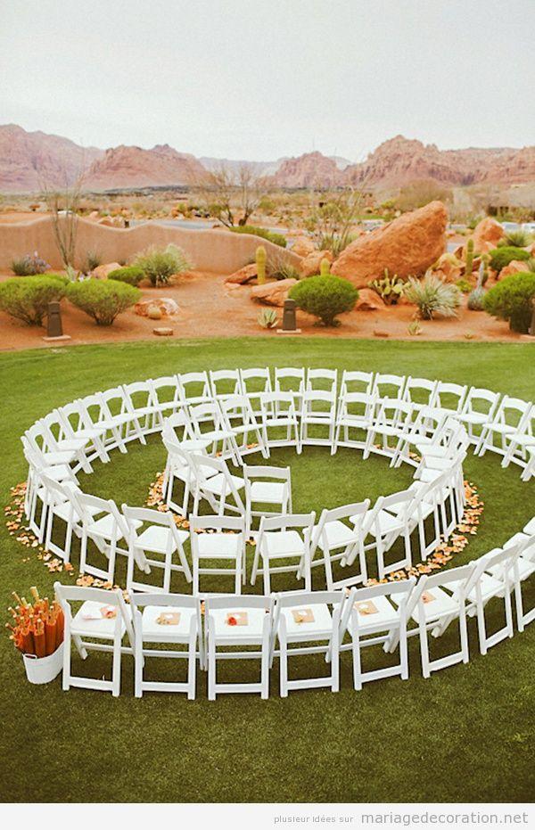 Mariage au jardin chaises dispos es en spirale for Au jardin wedding