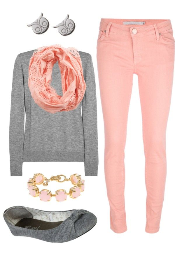 I want some colored pants/jeans like this. Maybe not this color, but something. Like the gray shirt and accessories too.