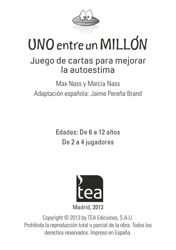 """Manual descargable del """"UNO entre un MILLÓN"""", #juego de cartas diseñado para ayudar a mejorar la #autoestima de #niños y preadolescentes."""