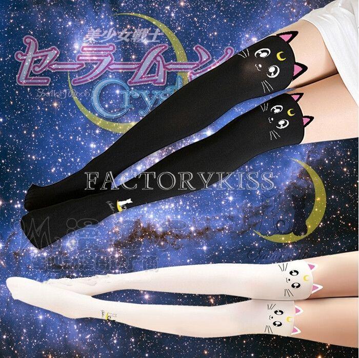 Anime Sailor Moon Cosplay Luna Katze Muster Strumpfhosen Socken Leggings HUK