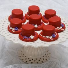 Red Top Hat - place a marshmallow on top of a cookie and cover with white chocolate colored red.