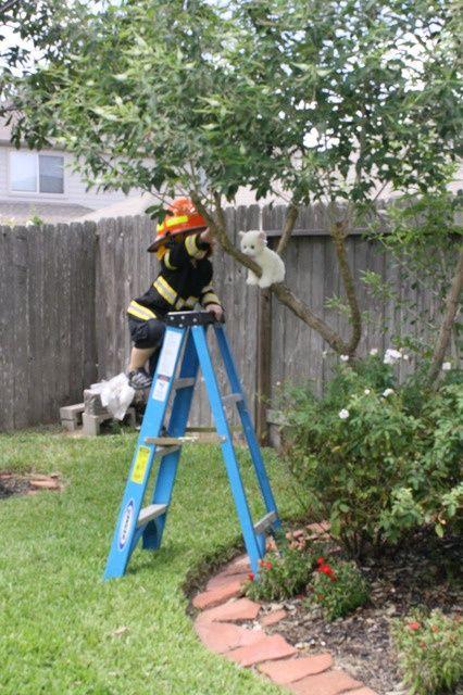 Feuerwehr Party Kindergeburtstag - Rette die Katze vom Baum
