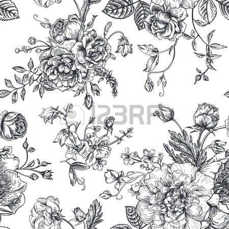 blanco y negro vintage: Modelo inconsútil de la vendimia del vector con el ramo de flores negras sobre un fondo blanco. Peonías, rosas, guisantes de olor, campana. Monocromo.