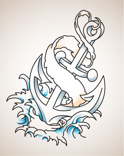 Amazing Banner Anchor Tattoo Design