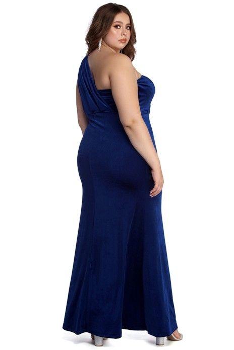 0fb4fac7b Plus Iris One Shoulder Draped Velvet Dress in 2019 | Prom dresses(bailey  Carr) | Dresses, Fitted bodice, Curvy girl fashion