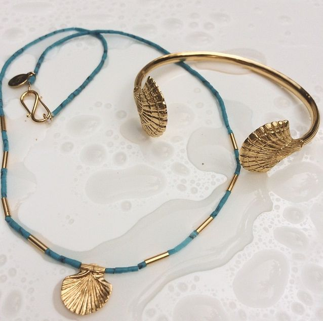 Harness the power of the deep blue sea with our Turquoise Shell Necklace & Eleni Shell Cuff, both online now #templeofthesunjewellery #boho #gypsy #boholuxe #ocean #shell