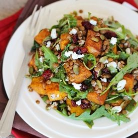 ... salad with spiced roasted squash, lentils, goat cheese, arugula