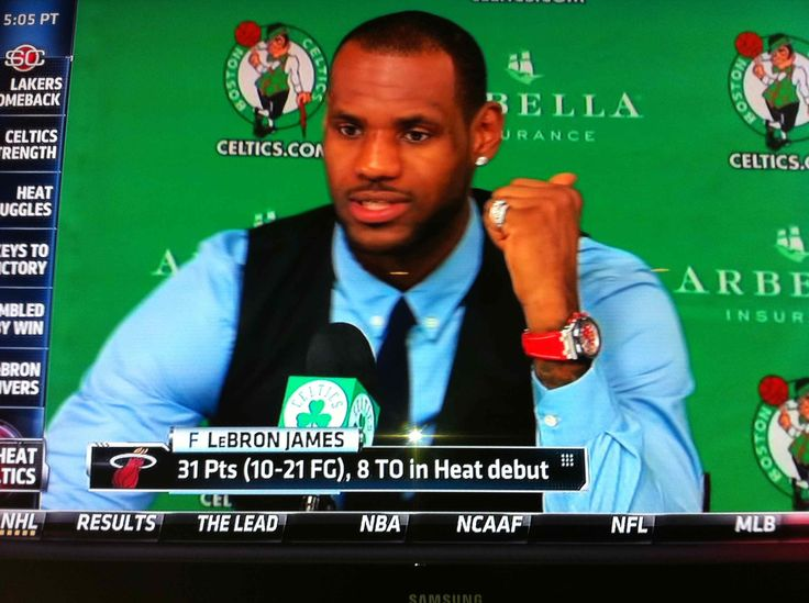 Lebron James speaking at his winning press conference after the game wearing his Audemars Piguet Royal Oak Offshore Diver. #LebronJames #KingJames #23 #MIAMIHEAT