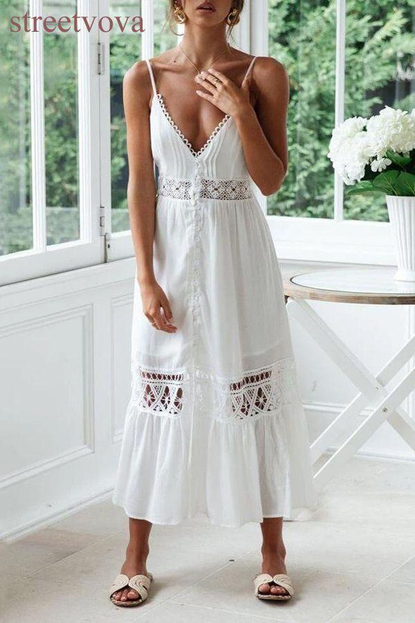 Chiffon Mosaic Lace Openwork Lace Beach Dress In 2020 Lace Beach Dress Lace Summer Dresses Women S A Line Dresses