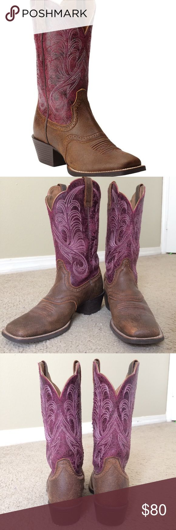 Ariat Women's Mesquite Vintage Western Boots These boots are AMAZING. 2-tone leather in a crinkled purple color, and brown leather bottom. These are seriously perfect for wearing all day. I wore these to several stock shows where I was on my feet for 8+ hours and they were supremely comfortable. Very minor wear and in excellent condition. Size 7.5 B. Ariat Shoes Heeled Boots