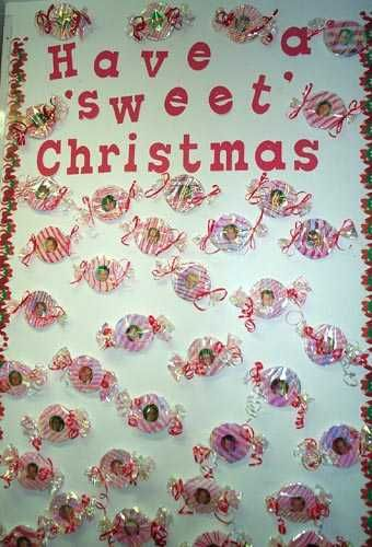 used this idea for our door decorations...my door said Merry Christmas from the kindergarten sweeties