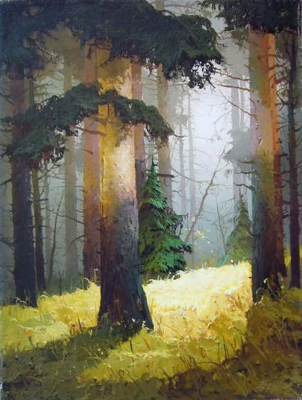 Viktor Bykov Autumn Light.  Bykov has such a beautiful soft style in this painting.  The colours layer over each other perfectly