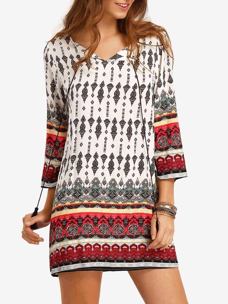 Tassel Tie Neck Tribal Print Dress #Clothing#Dresses#Tops#Tees#Sweaters#Fashion#Hoodies#Sweatshirts#Jeans#Pants#Skirts#Shorts#Leggings#Active#Swimsuits#Cover#Ups#Lingerie#Sleep#lounge#Jumpsuits#Rompers#Overalls#Coats#Jackets#Vests#Suiting#Blazers#Socks#Hosiery