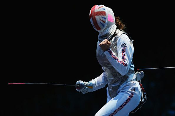 We love how the Union Jack wraps around the mask of Sophie Troiano of Team GB as she competed against Eman Gaber of Egypt in Women's Foil Team Fencing on August 2nd at the London 2012 Olympics. Source: Source: Hannah Johnston/Getty Images Europe