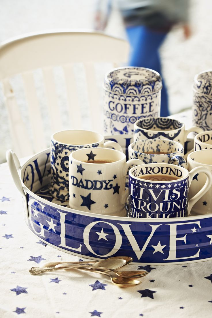 Mix it up with Splatter, Wallpaper, Daisy and Blue Hen and Border, all in our twilight evoking, cobalt blue.