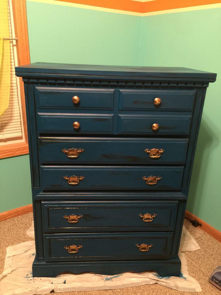 """Valspar """"Sapphire Bracelet"""" chalky paint dresser with dark ..."""