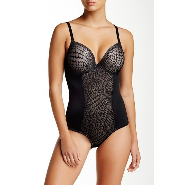 Joan Vass Molded Cup Mesh Bodysuit (Plus Size Available) (77.120 COP) ❤ liked on Polyvore featuring intimates, black, mesh bodysuit, plus size mesh bodysuit, black mesh bodysuit, mesh underwire bra y plus size body suit