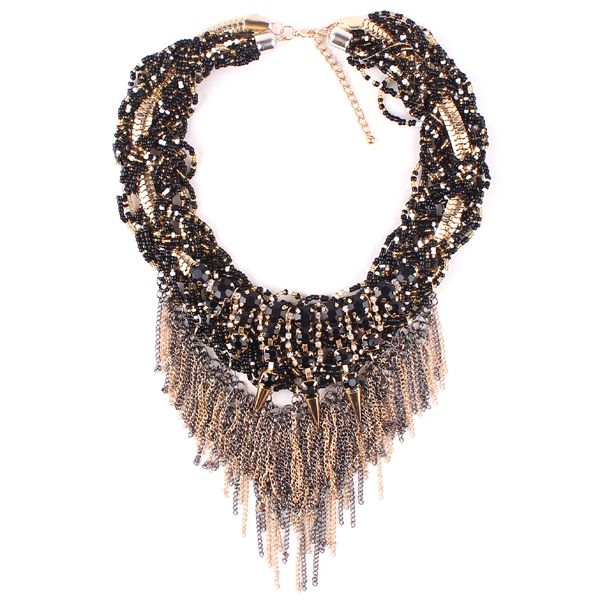 Black & Gold Twists Necklace