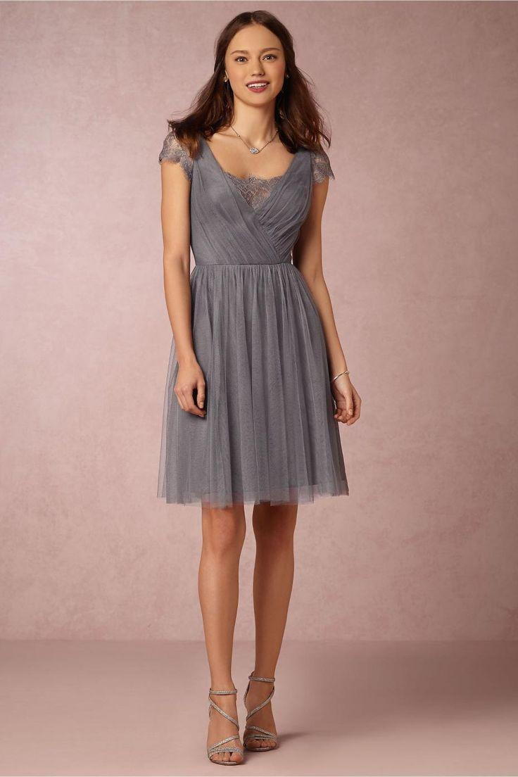 Tea-Length-Grey-Bridesmaid-Dresses