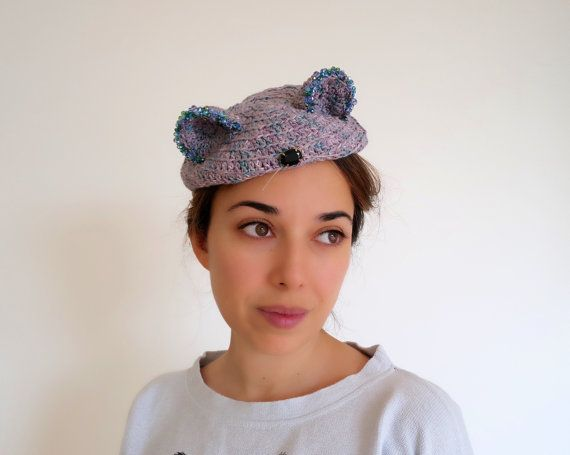 Hat with ears Beaded hat Casual hat Warm hat by PapillonsDeLeticia
