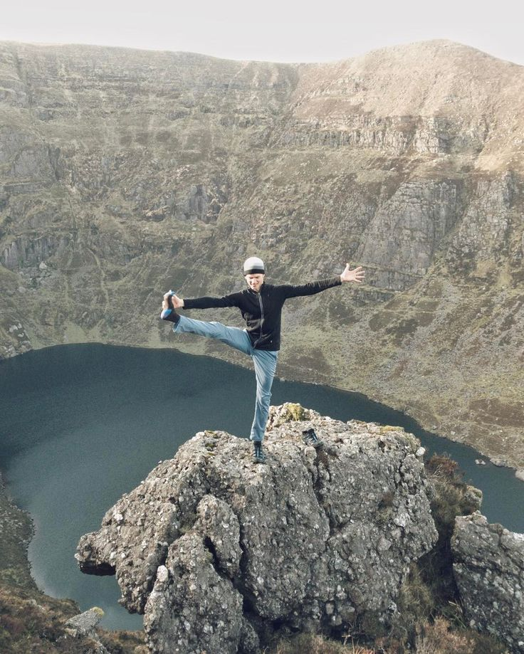 While in Waterford, Ireland teaching his immersion, Stephen found time for a hike to this outstanding glacial lake. #YogaTip Don't try this at home!! No, seriously, be safe with your yoga. This rock might look like a scary place to be but it was a really safe spot. The same can go for yoga poses. Some poses might look scary but they're not if you practice them with intention and alignment. What's your scarynotscary pose / scary place?     Click for yoga tips =>