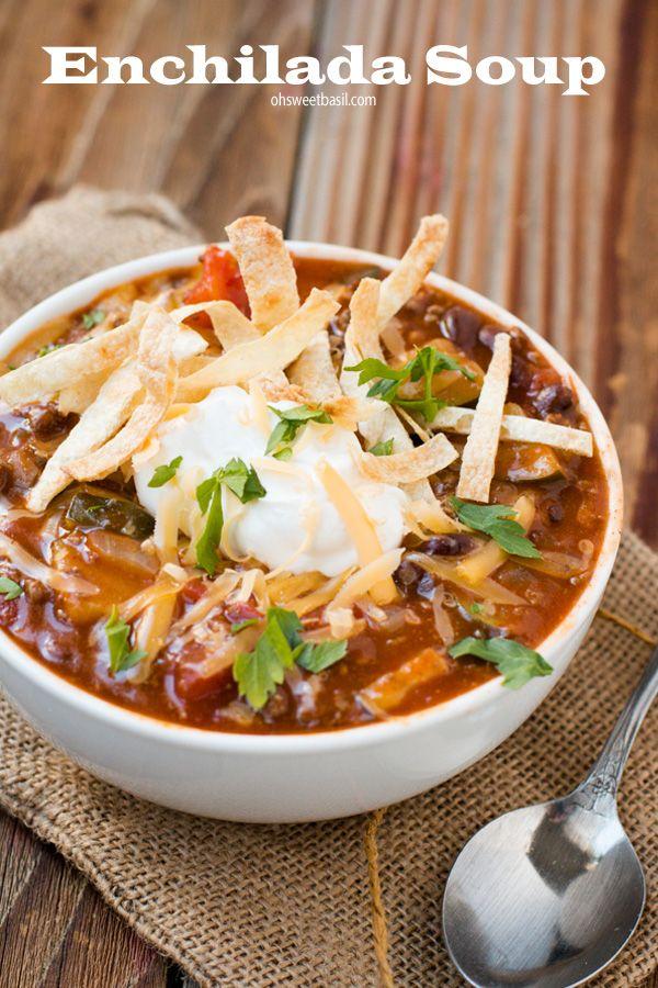 Loving this enchilada soup lately! Ohsweetbasil.com