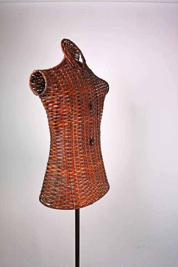Torso Dress Form Vintage Mannequin Body Wicker Dress Form