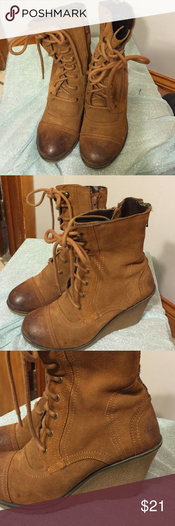 Wedge Bootie Soft brown wedge bootie in mint condition. Perfect for this season! It has two zippers, one on the back and one on the side and as you can see above the frontal lace. Super chic! Skechers Shoes Ankle Boots & Booties