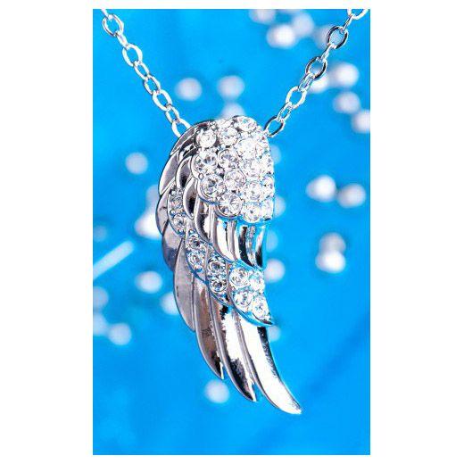Ontdek je vrijheid en laat je beschermen door de vleugel van de engel. Nikkel-vrij, met swarovski kristallen. L. 30 mm.