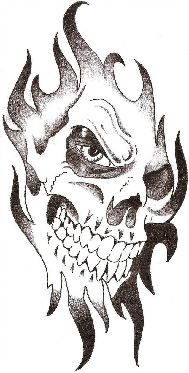 Skull Tribal By Thelob Cool Skull Drawings Skull Art Drawing Skull Art Tattoo