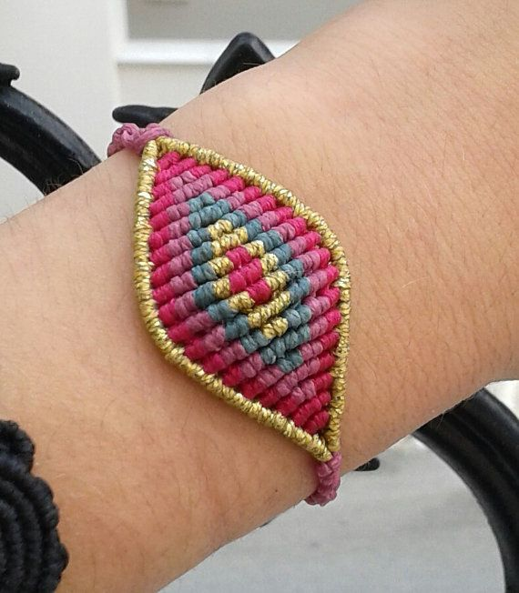 Macrame eye bracelet big size/ handmade jewelry/ by lulupica