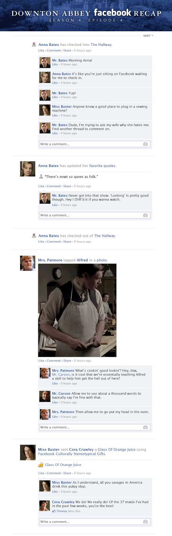 If Downton Abbey took place entirely on Facebook - Season 4, Episode 4.