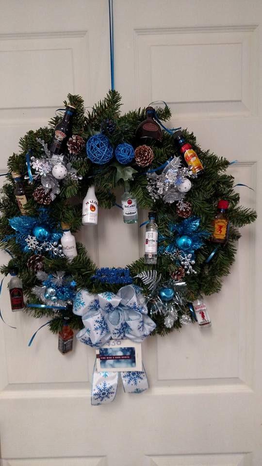 Christmas Nips Wreath I Made For A Raffle Basket Donation