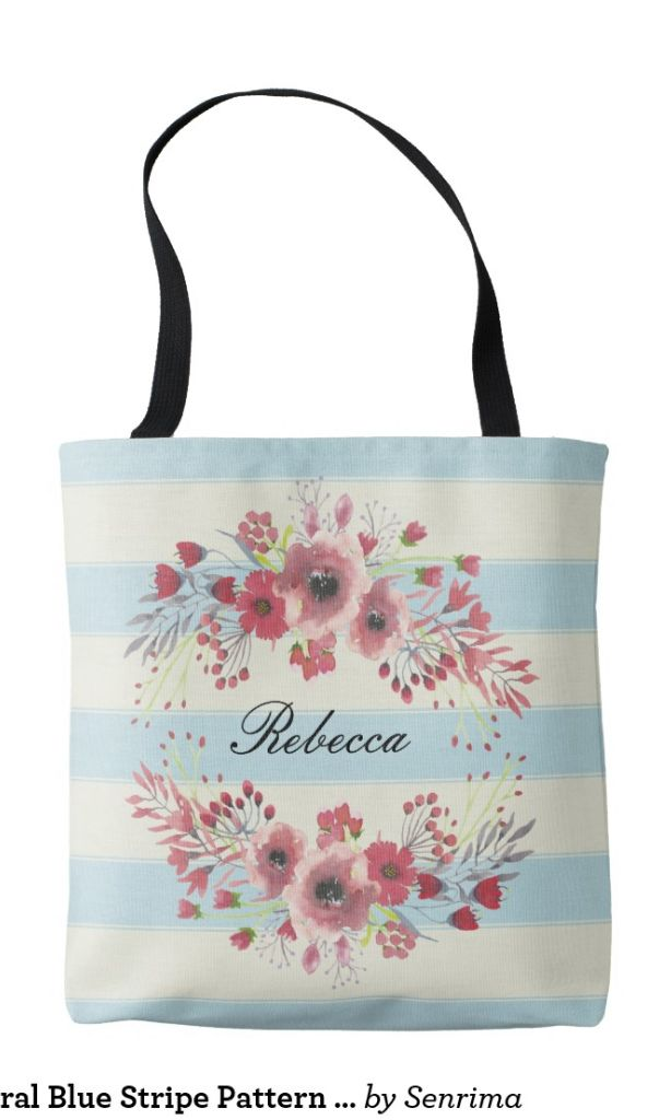 Monogram Floral Blue Stripe Pattern Tote Bag Use this template to change your mom's name to make a personalized Tote Bag gift for her in Mother's Day. Follow @halotee to see more #monogram #bag #ideas