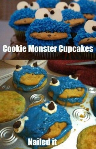 cookie monster cupcakes: Laughing, Cookie Monster, Nailed It, Cookies Monsters Cupcake, Monster Cupcakes, Nails It, Funnies, Pinterestfails, Pinterest Fails