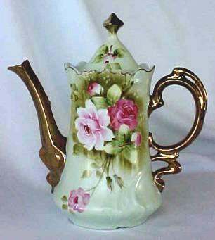 Charming Lefton Green Heritage Coffee Pot