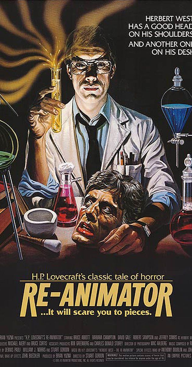 Directed by Stuart Gordon.  With Jeffrey Combs, Bruce Abbott, Barbara Crampton, David Gale. A dedicated student at a medical college and his girlfriend become involved in bizarre experiments centering around the re-animation of dead tissue when an odd new student arrives on campus.