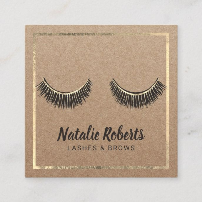 Lashes Makeup Artist Gold Frame Rustic Kraft Salon Square Business Card Custom Businesscard Designs Cards For You To Fully Customize