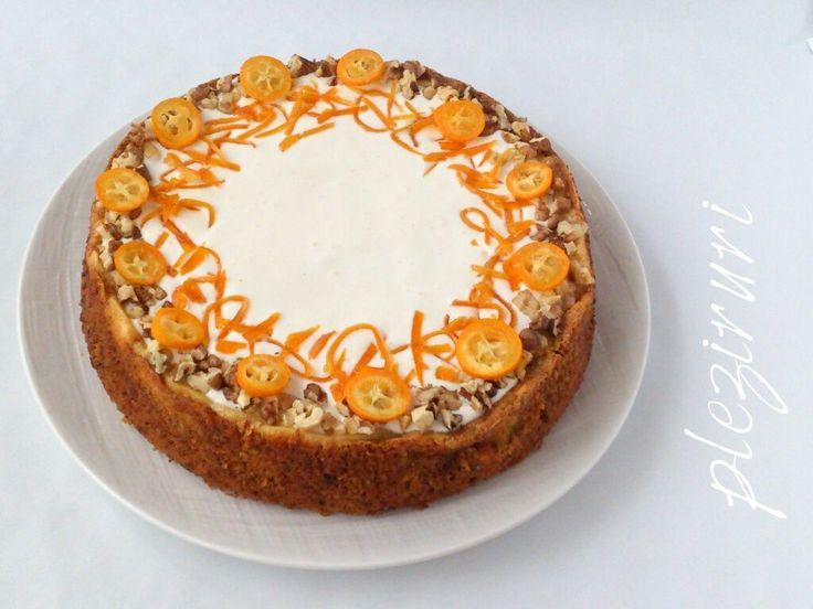 Cheesecake pe blat cu morcovi - Carrot cake cheesecake