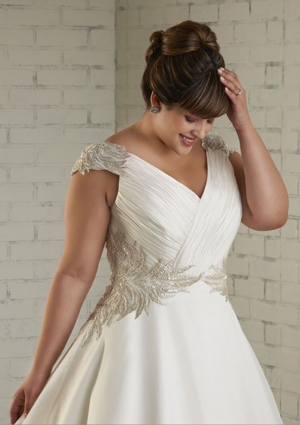 plus size satin trailing organza bridal cathedral a-line appliqued  picture 1