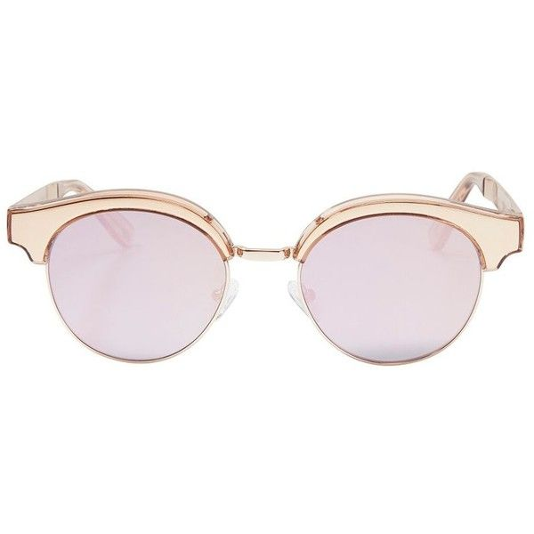 Le Specs Cleopatra Gold Tone Metal Half Frame Sunglasses found on Polyvore featuring accessories, eyewear, sunglasses, glasses, pink mirrored sunglasses, uv protection sunglasses, cateye sunglasses, cat eye sunglasses and pink lens sunglasses