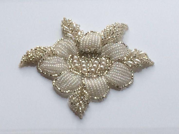 Rose Bridal Motif Silver Crystal Clear Rhinestone Applique w Pearls Style 127 | eBay