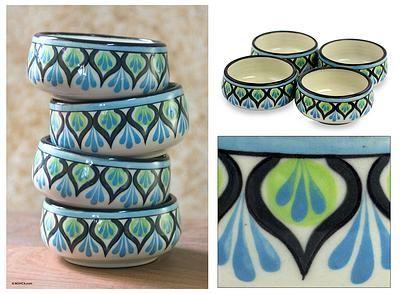 Ceramic soup bowls (Set of 4) - Owl | NOVICA