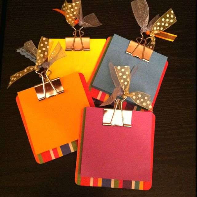 My Own-Post-IT clipboards made out of coasters...team gifts!