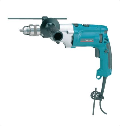 """Makita HP2070 Impact Drill     High power in slender and compact body with durable metal gear housing.     Dual purpose for """"Rotation Only"""" and """"Rotation with hammering"""".     Built-in torque limiter stops bit rotation when hitting reinforcements.     New reversing system allows: Extended service life of carbon brush. No power reduction even in reverse rotation. For More Details: http://www.mrthomas.in/makita-hp2070-impact-drill_28"""