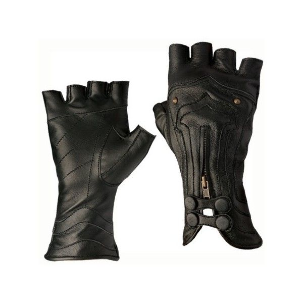 black fingerless gloves, leather ❤ liked on Polyvore featuring accessories, gloves, fingerless gloves, leather gloves and fingerless leather gloves