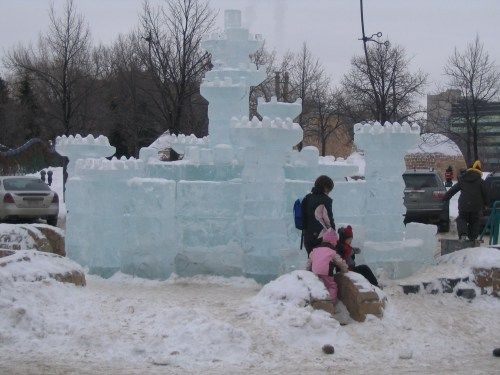 Children checking out the Ice Castle.