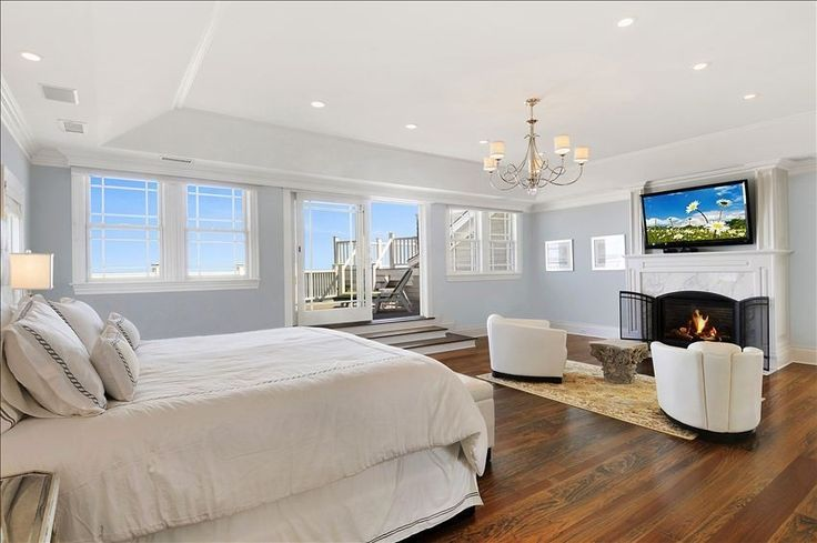 Master Bedroom Suite but with gray black and white colors. Love how open! But with a canopy bed