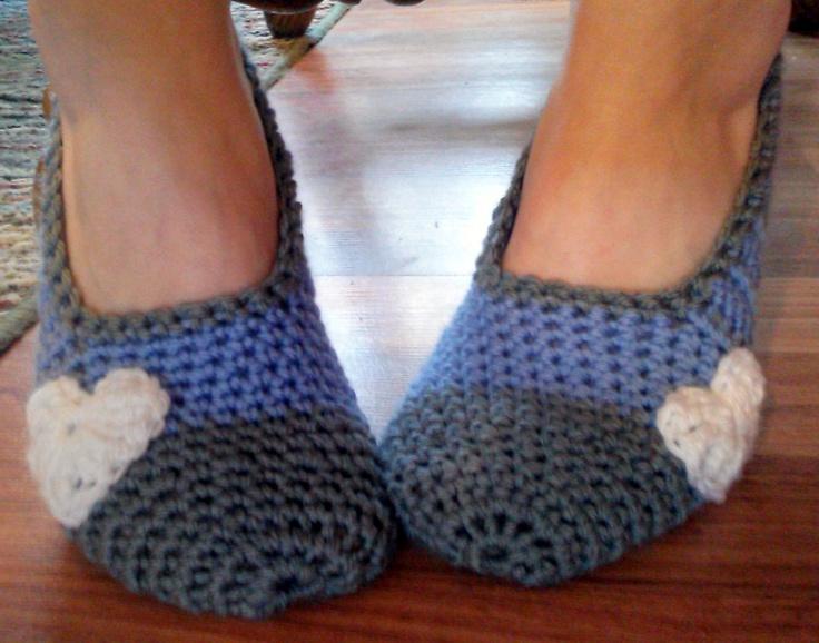 Color blocked Handmade House Slippers by HookedByAmy on Etsy, $16.50